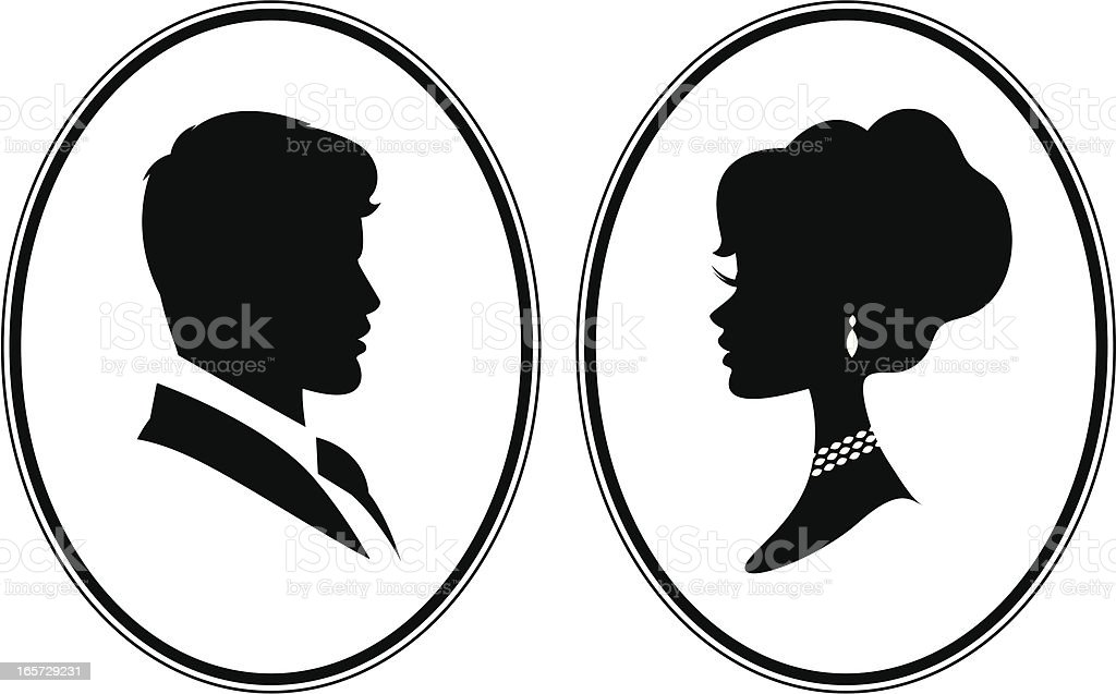 Victorian Cameos vector art illustration