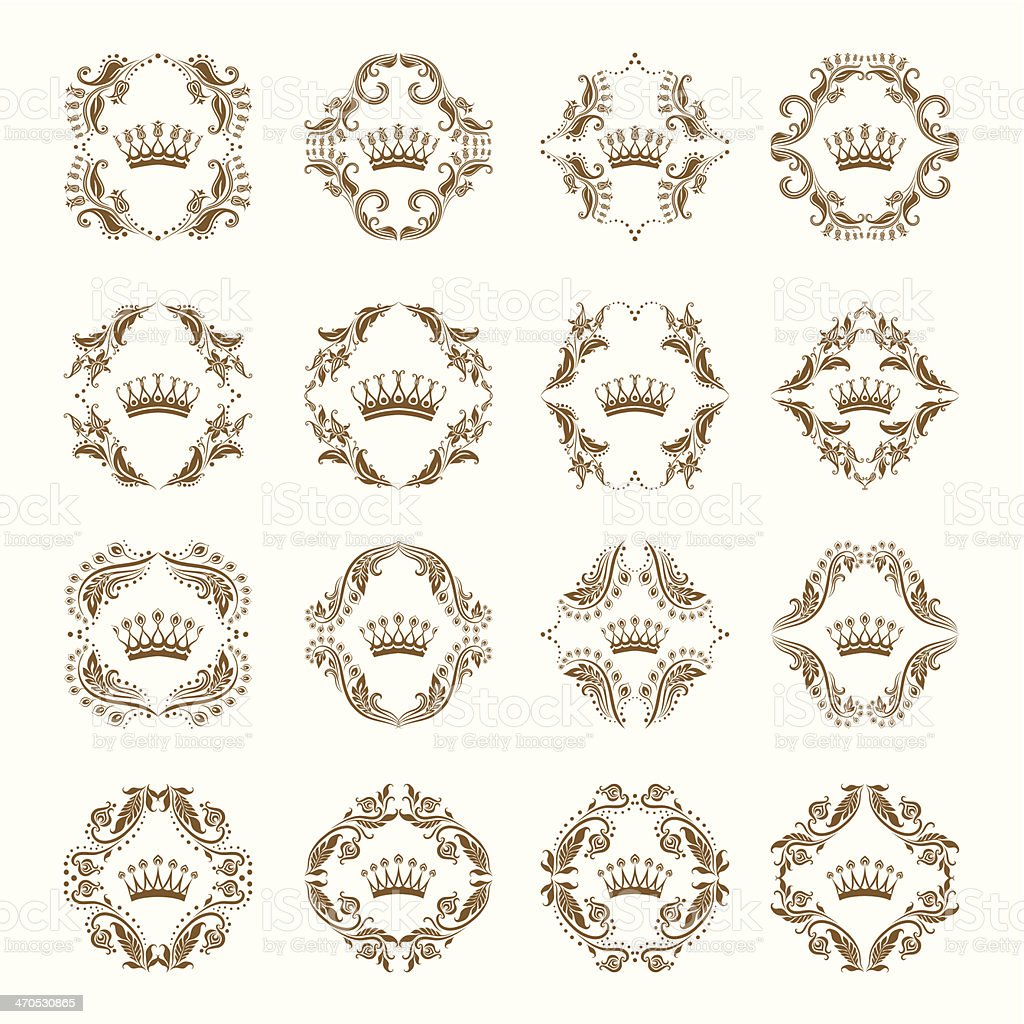 Victorian crown and decorative elements. royalty-free stock vector art