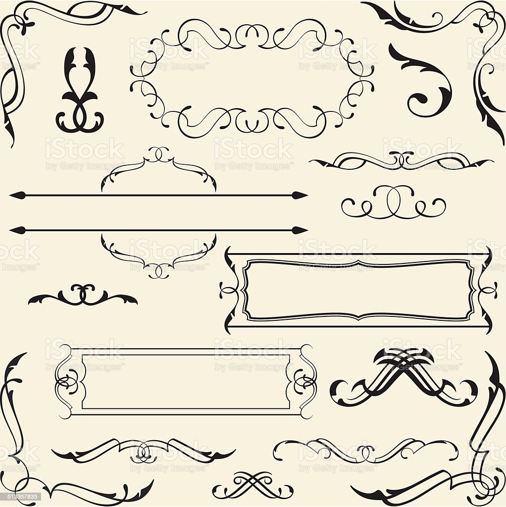 Victorian design set vector art illustration