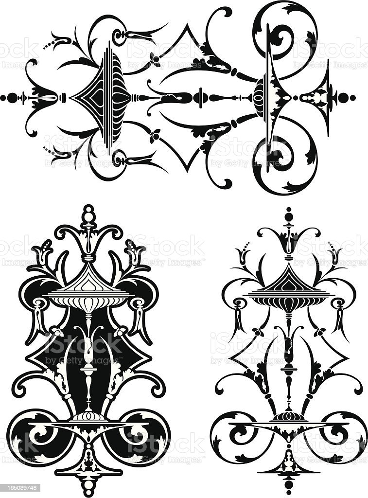 Victorian English Cut Glass Scroll royalty-free stock vector art