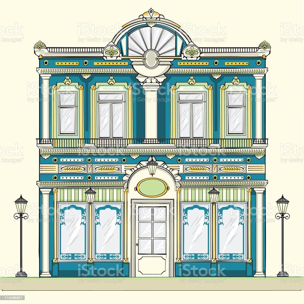 Victorian facade building vector art illustration