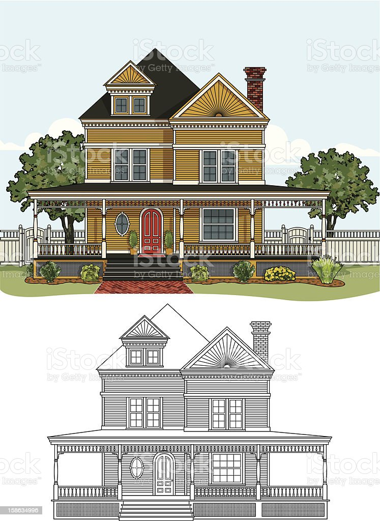 victorian farmhouse vector art illustration