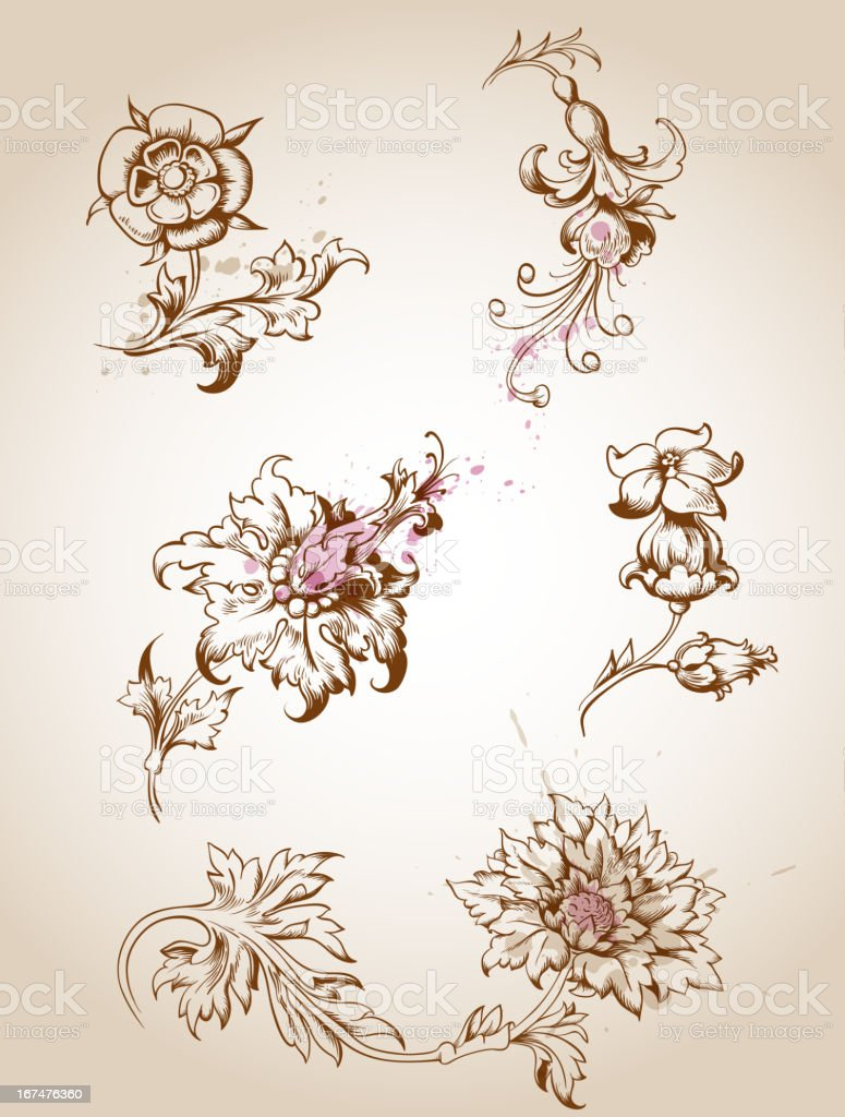 Victorian floral design elements royalty-free stock vector art