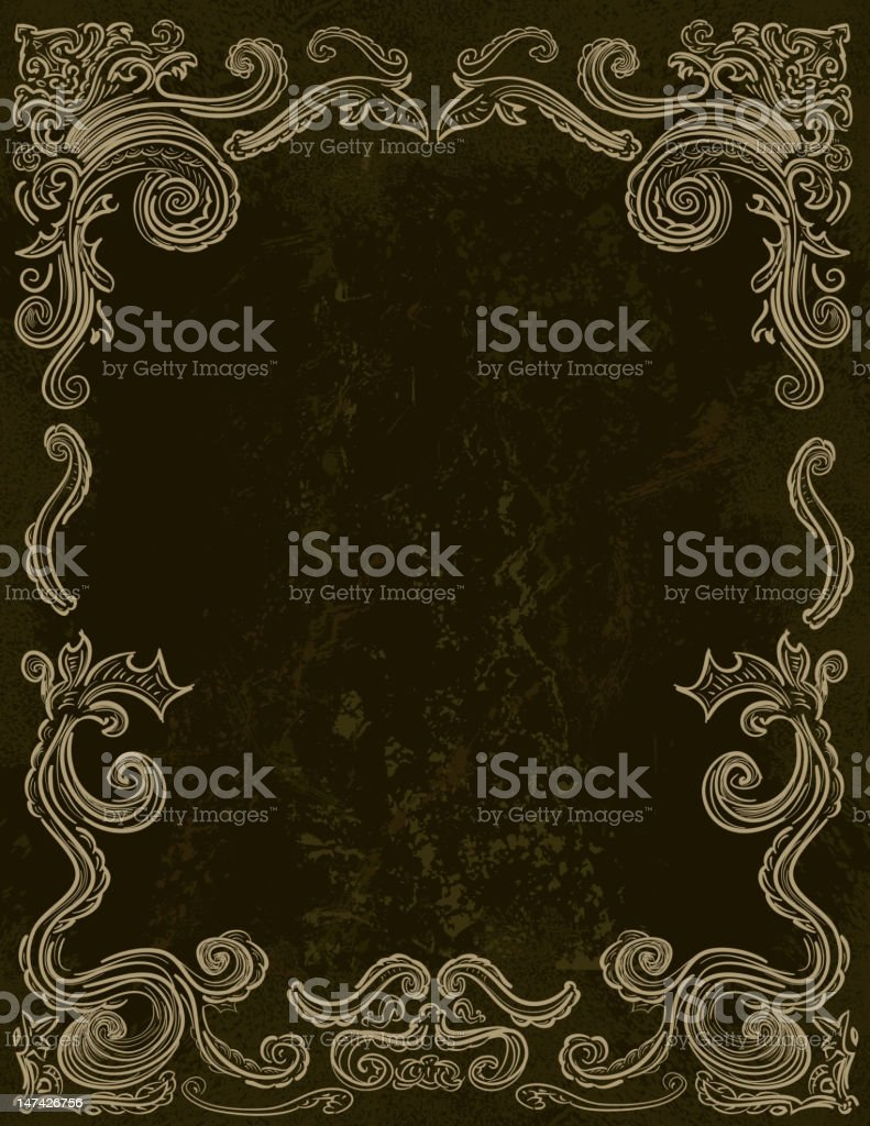Victorian frame scroll background vector art illustration
