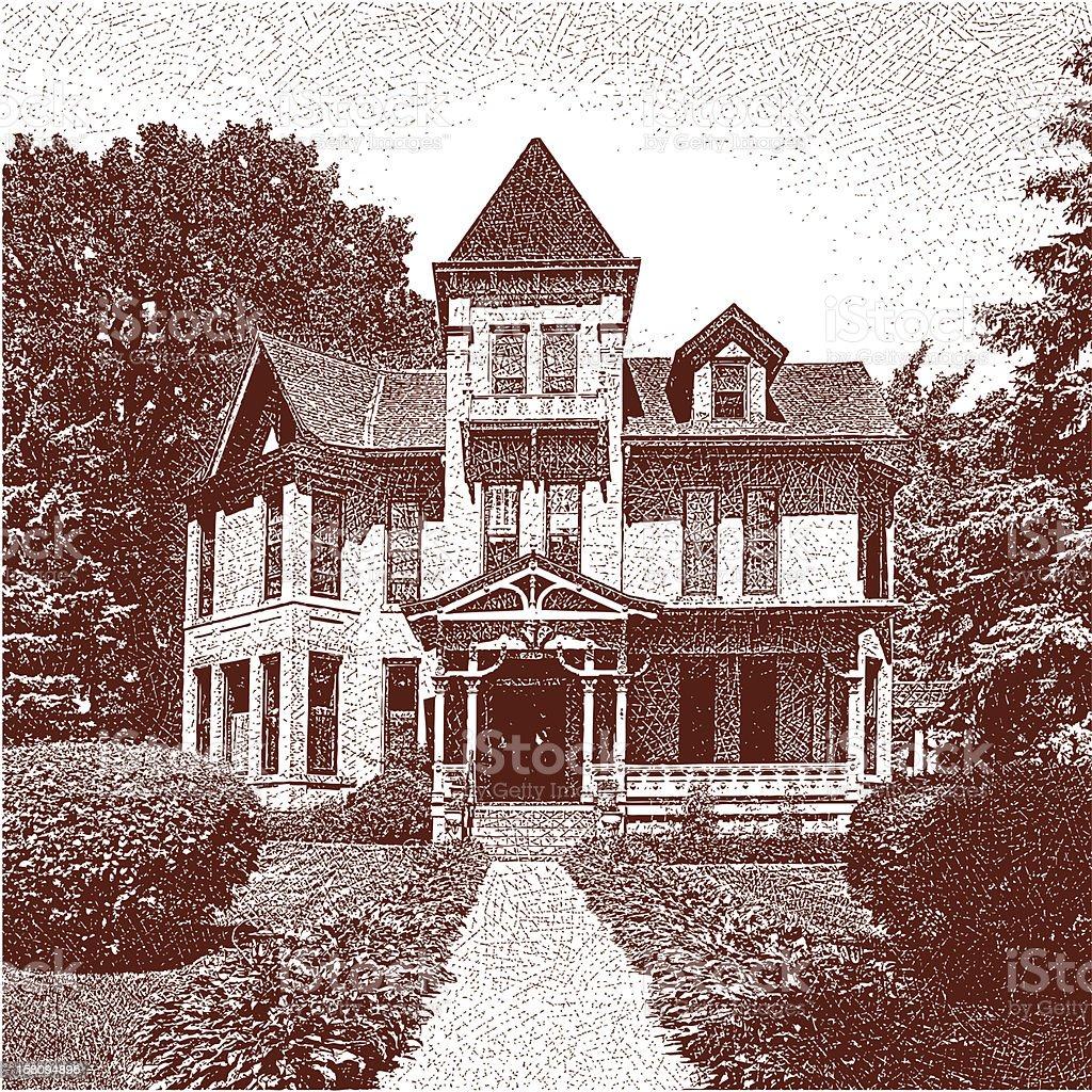 Victorian Home vector art illustration