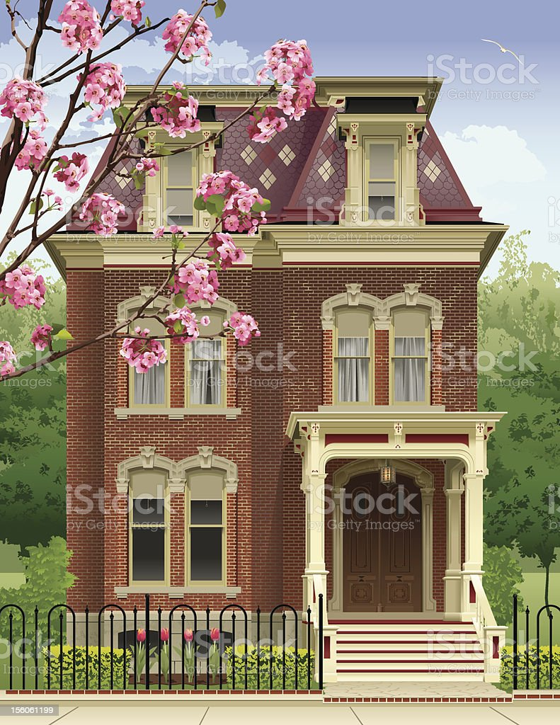 Victorian House in the Spring vector art illustration