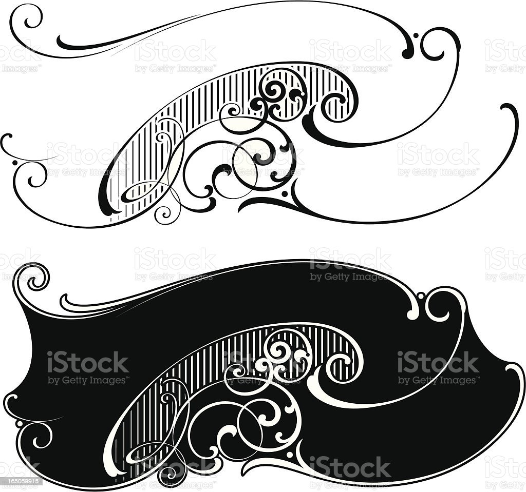 Victorian Lettering Ribbons and Scrolls royalty-free stock vector art