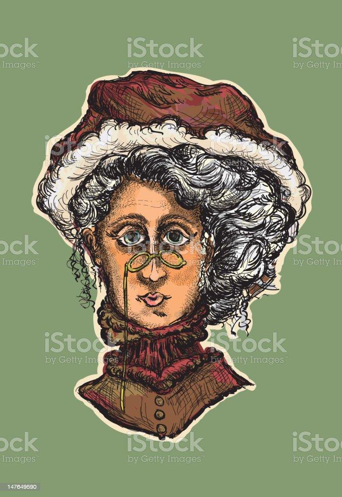 Victorian Mrs Claus portrait vector art illustration