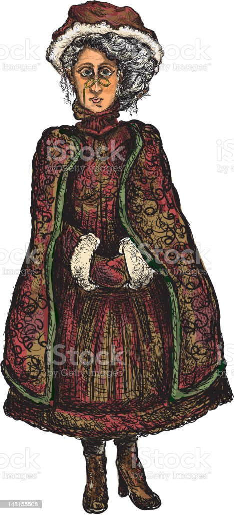 Victorian Mrs. Claus vector art illustration