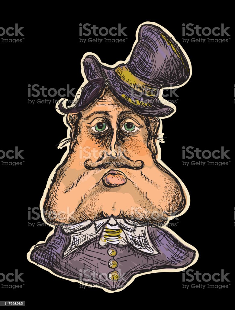 Victorian or steampunk fat elite man portrait vector art illustration