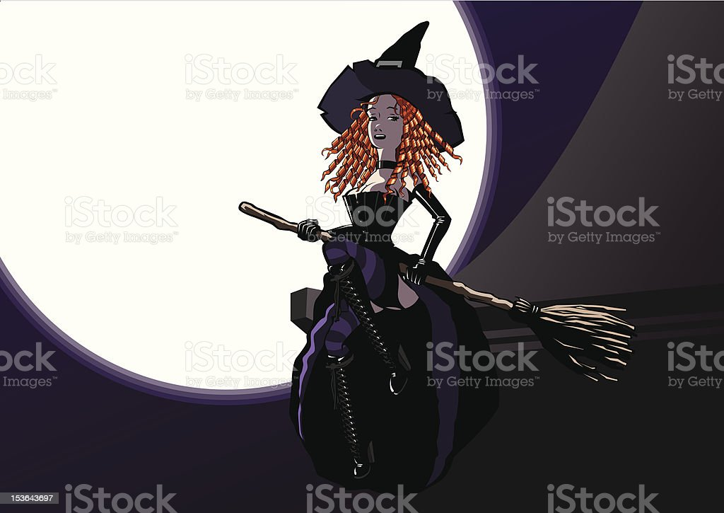 Victorian redhead witch with her broom on a rooftop royalty-free stock vector art