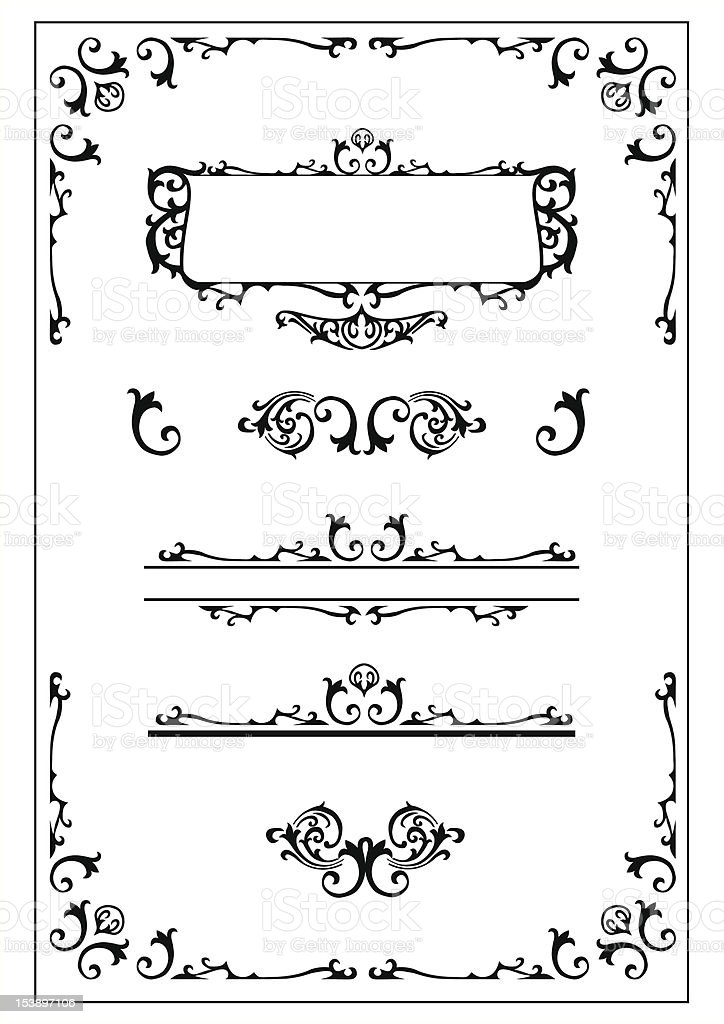 victorian scroll design elements royalty-free stock vector art