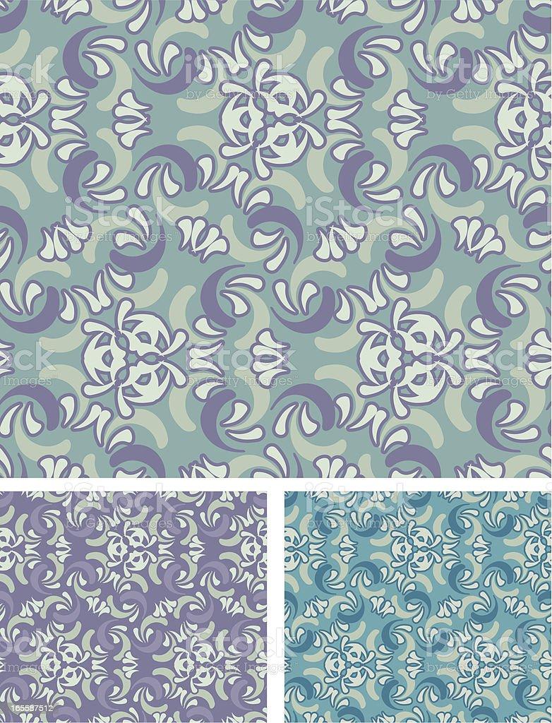 Victorian Seamless Swirls - Green and Purple Pattern royalty-free stock vector art