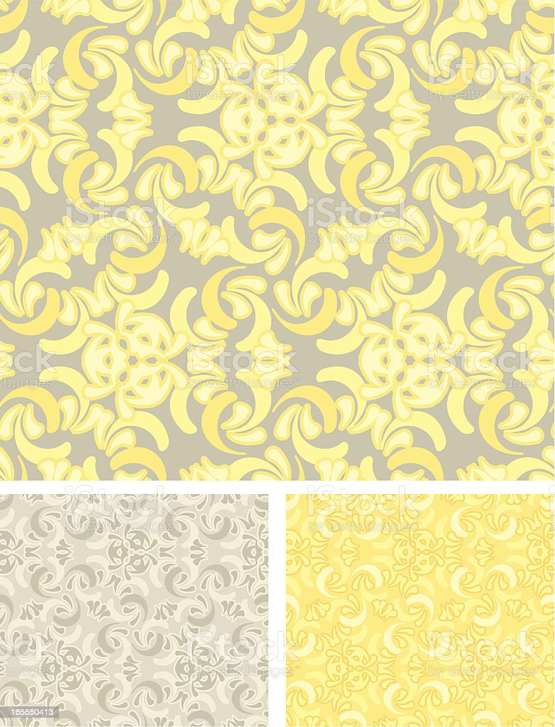 Victorian Seamless Swirls - Yellow and Stone Pattern royalty-free stock vector art