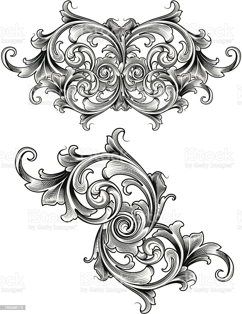 Victorian Shaded Scroll royalty-free stock vector art