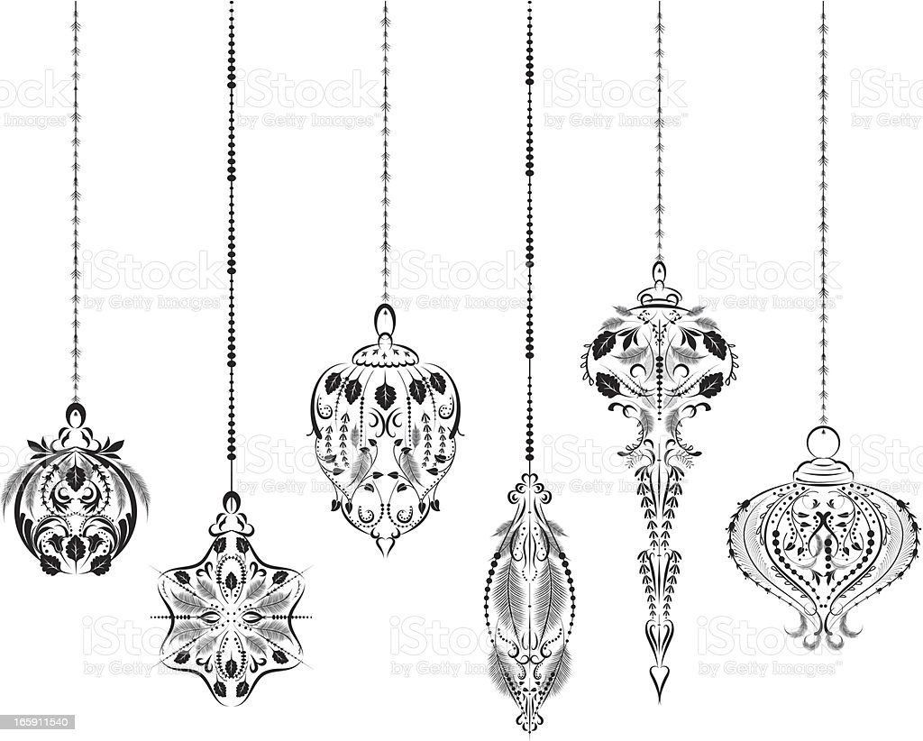 Victorian christmas ornaments - Victorian Style Christmas Ornaments Set Royalty Free Stock Vector Art