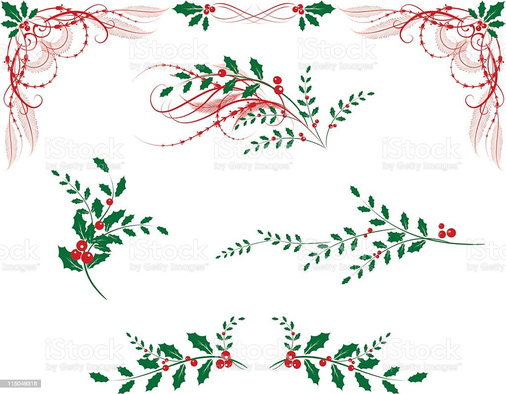 Victorian Style Holly Elements royalty-free stock vector art