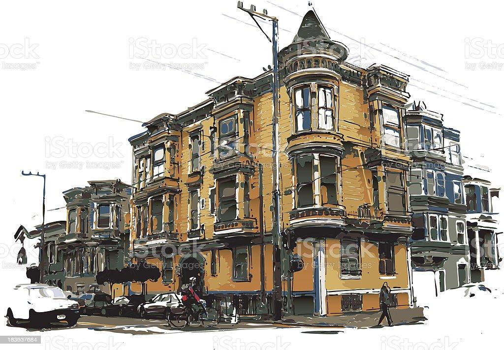 victorian style house vector art illustration