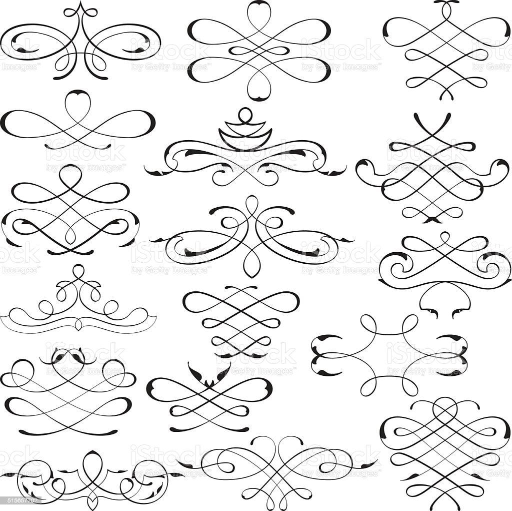 Victorian swirl elements set vector art illustration