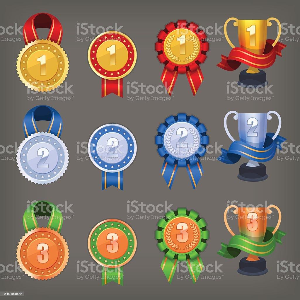Victory awards vector art illustration