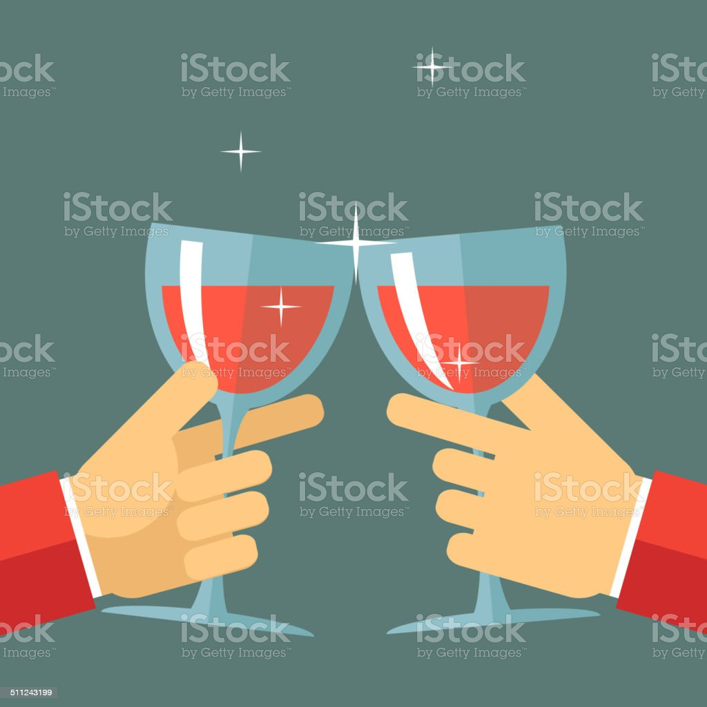 Victory Celebration Success and Prosperity Symbol Hands Holds a Glasses vector art illustration
