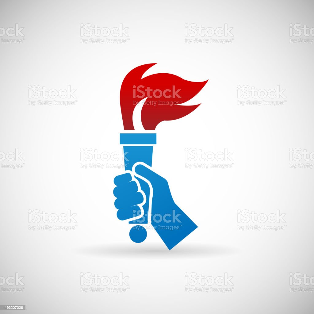 Victory Flame Symbol Hand Hold Fire Torch Icon Design Template vector art illustration