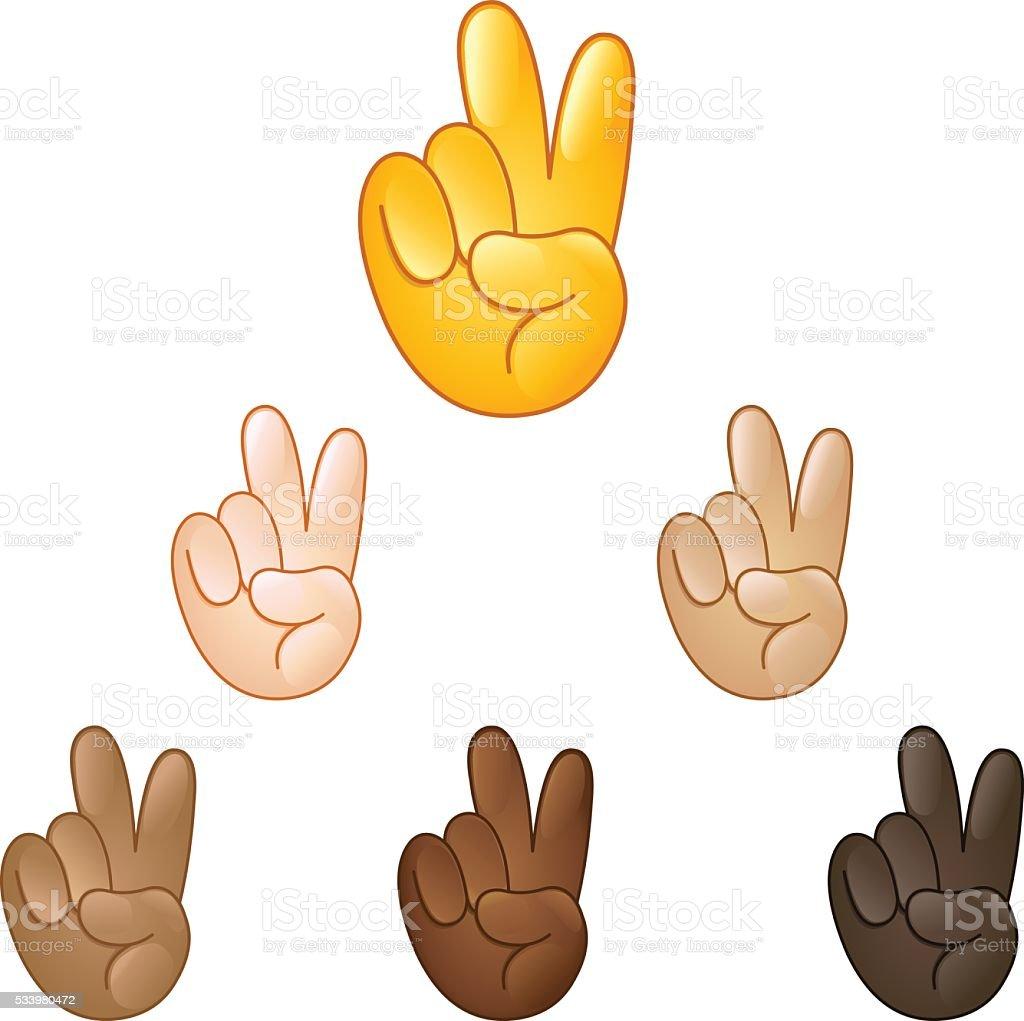 Victory hand emoji vector art illustration