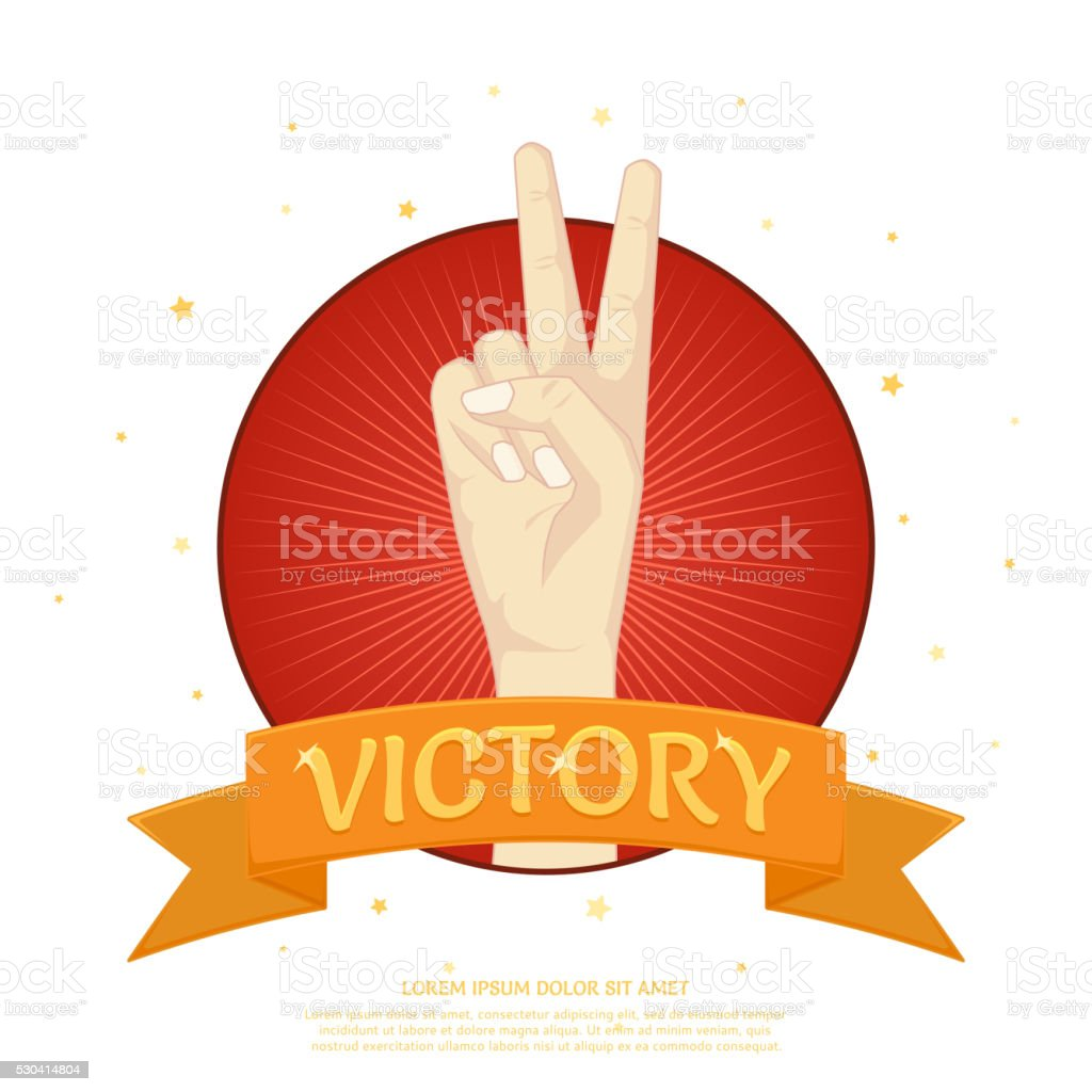 Victory label with two fingers from the palm royalty-free stock vector art