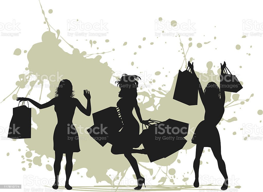 victory shopping women royalty-free stock vector art
