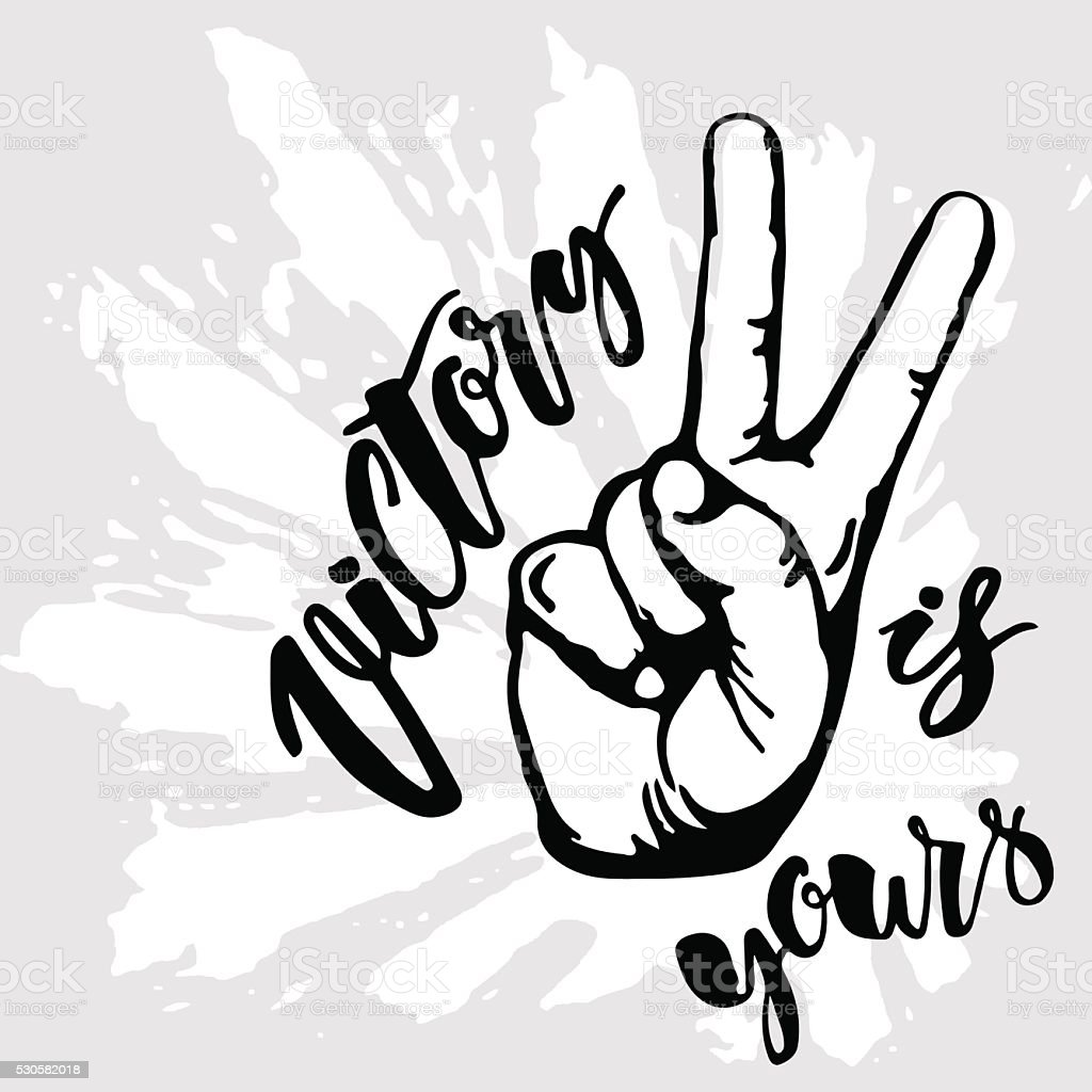 Victory sign. Victory is yours vector art illustration