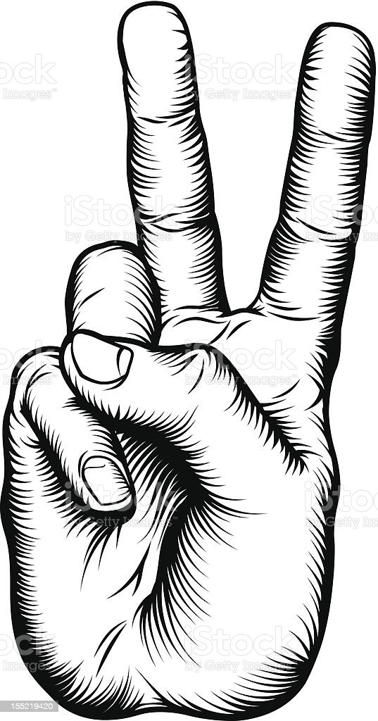 Victory V salute or peace hand sign vector art illustration