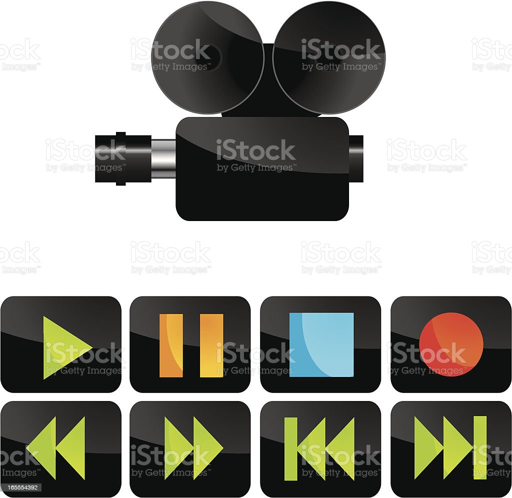 Video camera and controls royalty-free stock vector art