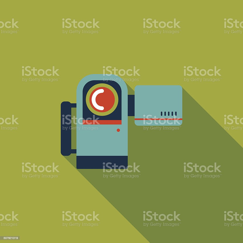 Video camera flat icon with long shadow vector art illustration