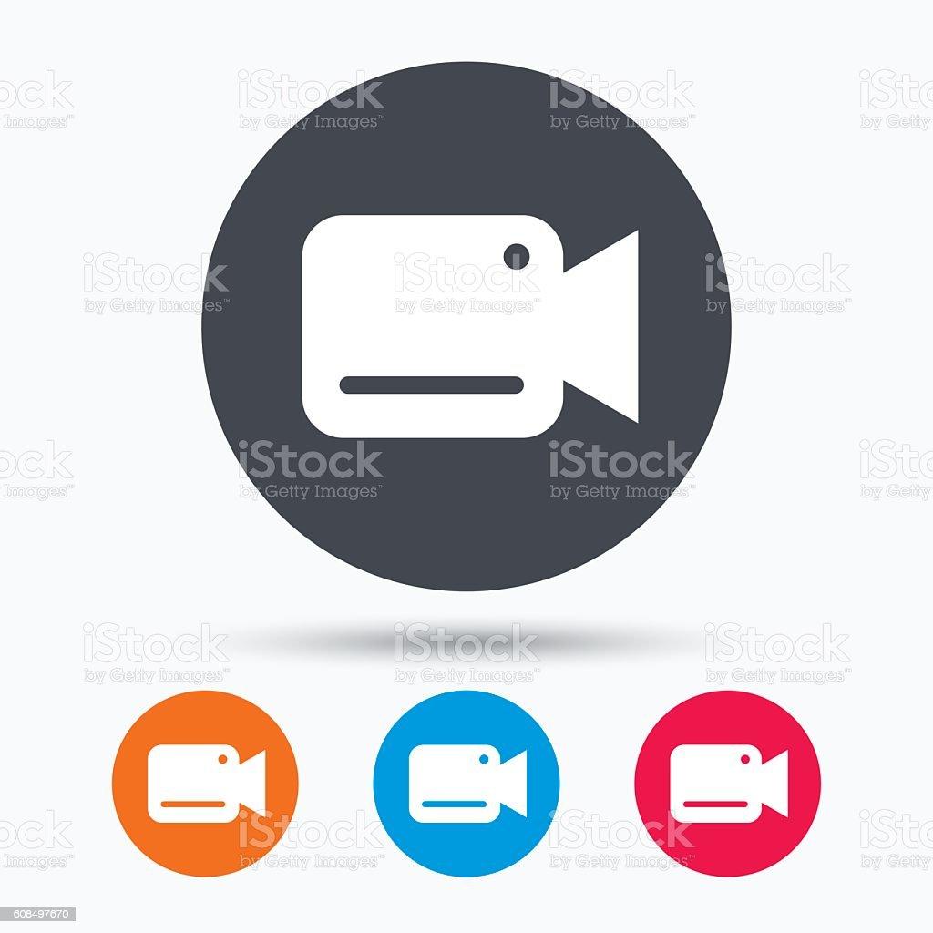Video camera icon. Film recording cam symbol. vector art illustration