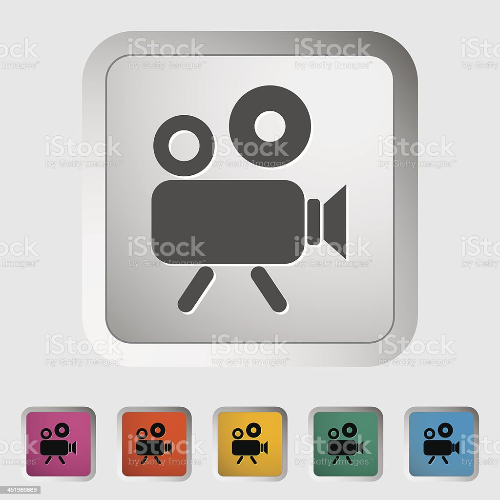A video camera icon in various colors vector art illustration