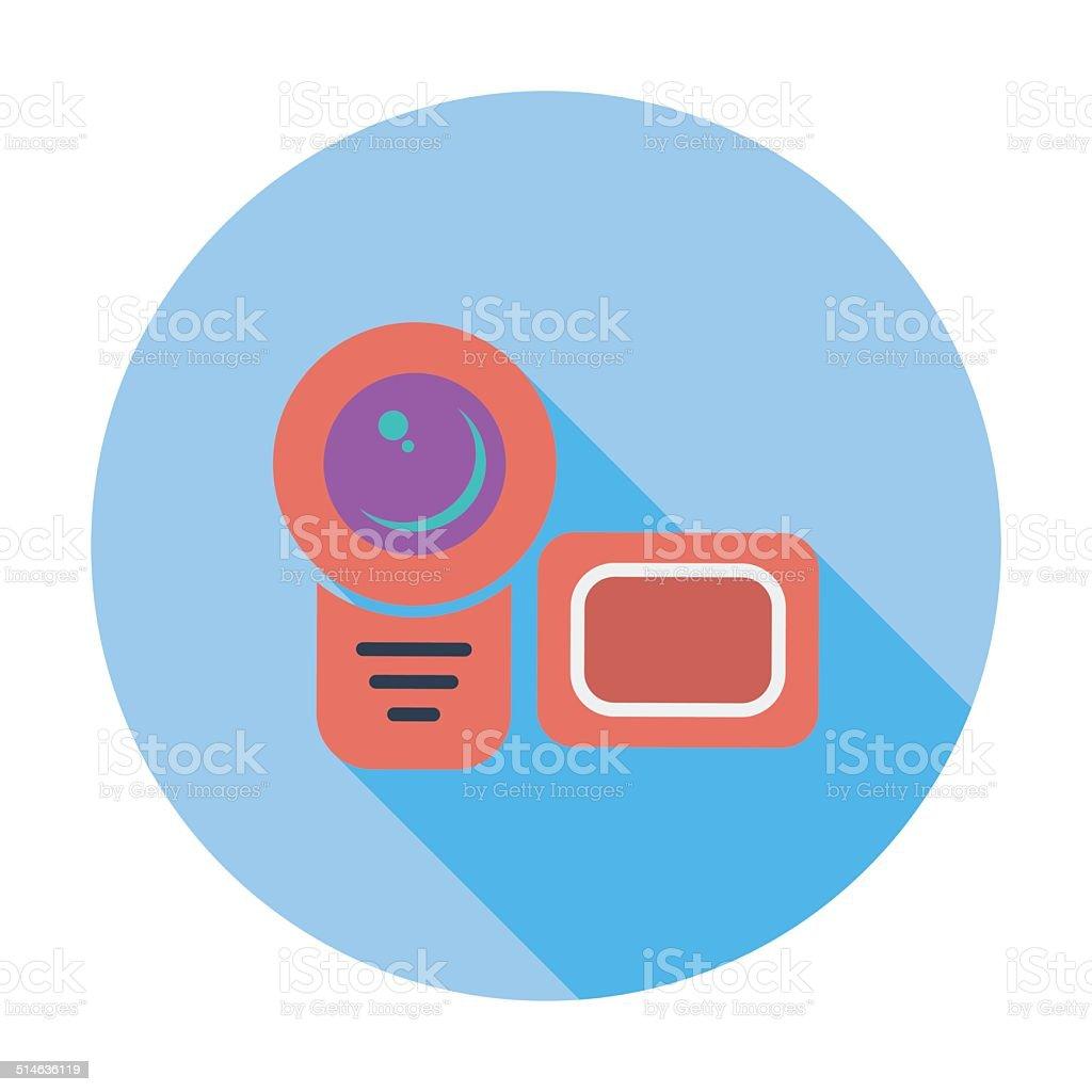 Video camera single flat icon. vector art illustration