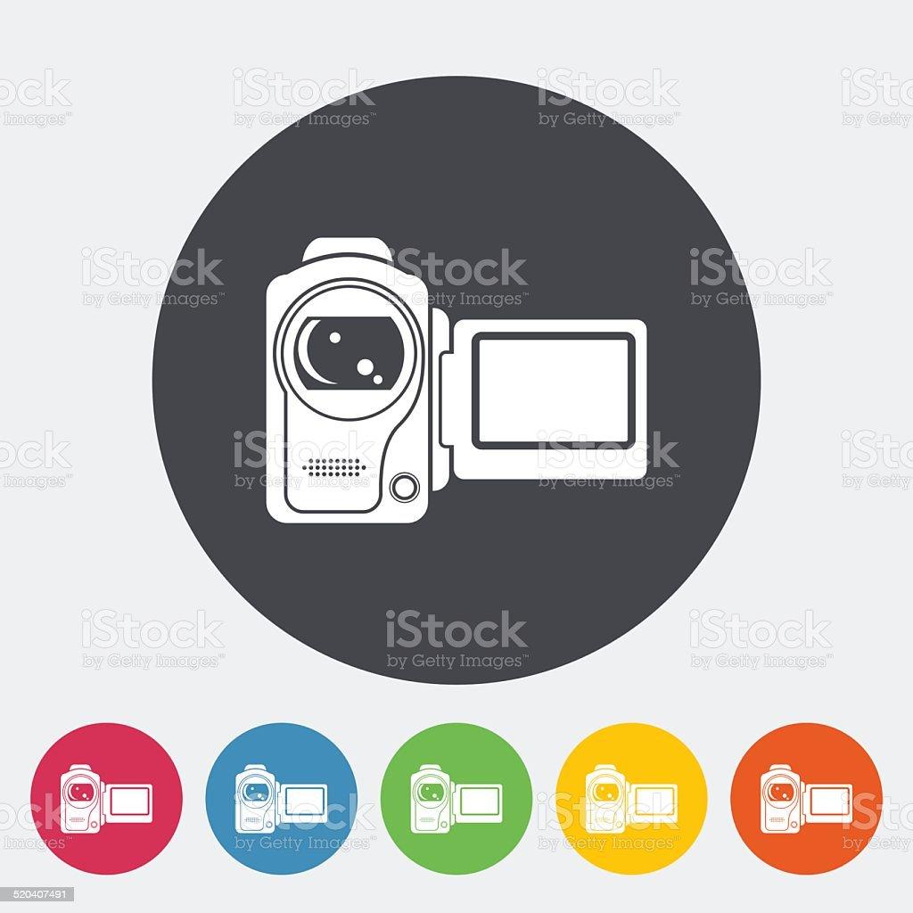 Video camera single icon. vector art illustration