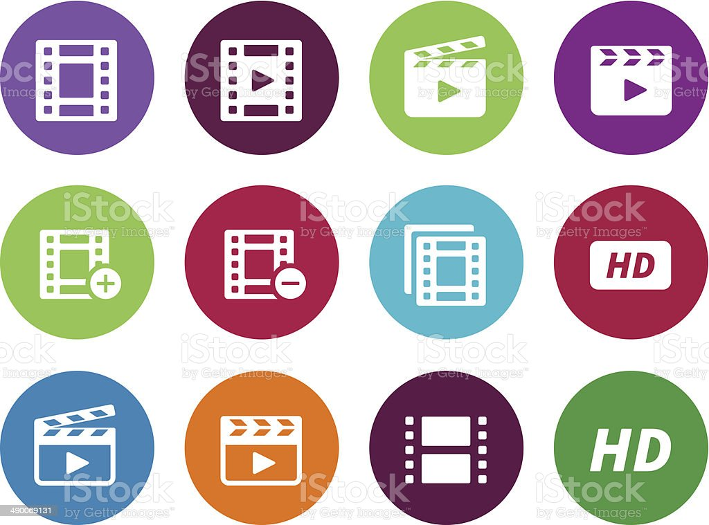 Video circle icons on white background. vector art illustration