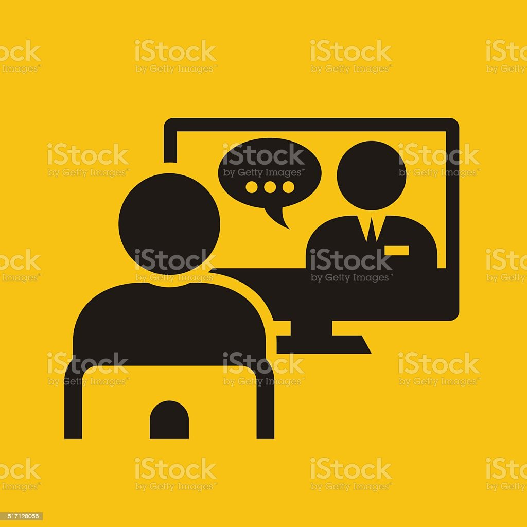 Video conference call - man on chair near monitor vector art illustration