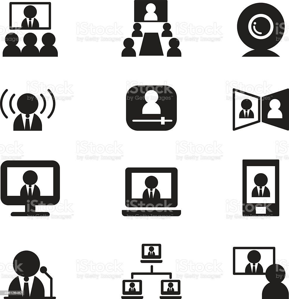 Video conference communication(Meeting, Seminar, Training) vector art illustration