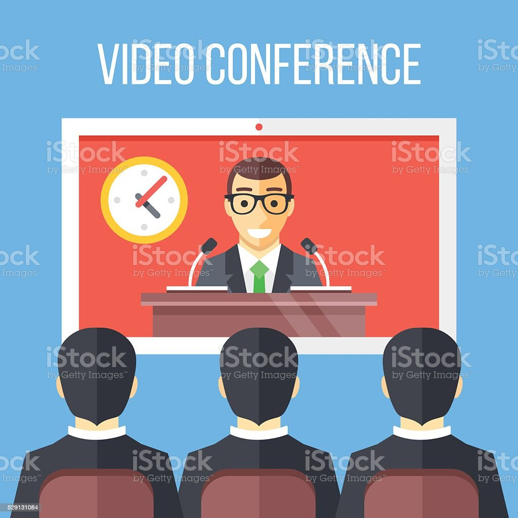 Video conference flat illustration. Vector illustration vector art illustration