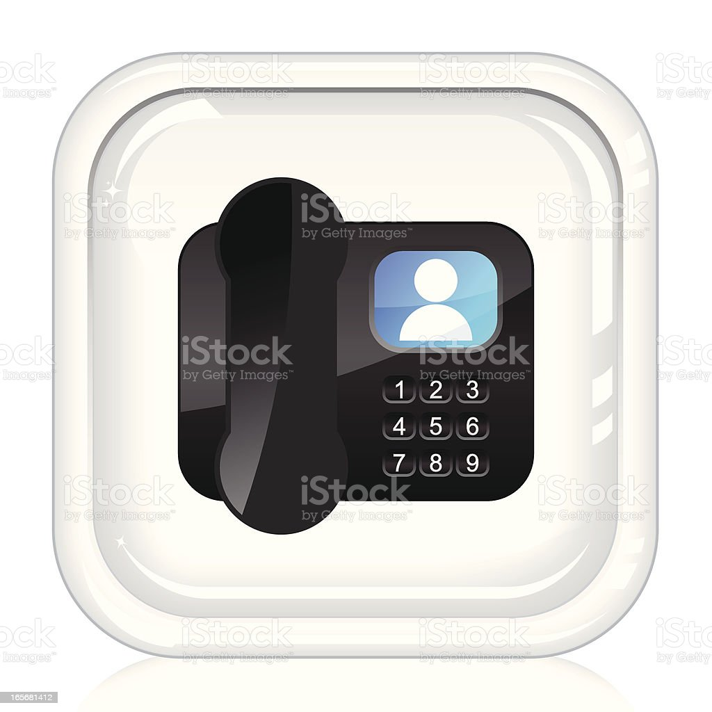Video Conference Phone | Glassy White Internet Button vector art illustration