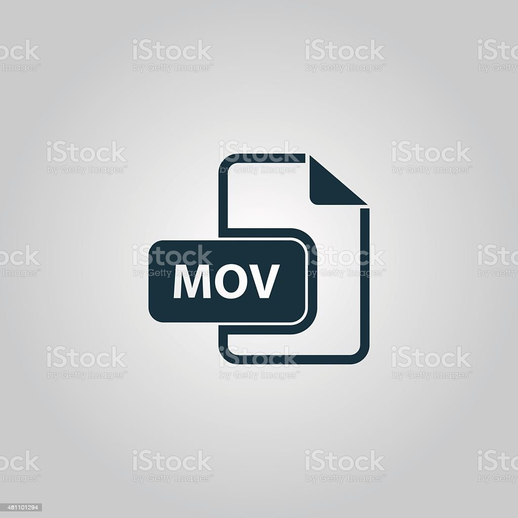 MOV video file extension icon vector vector art illustration