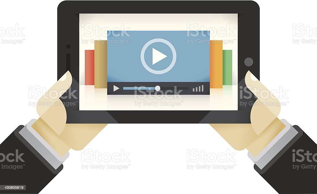 Video films collection on the tablet computer vector art illustration
