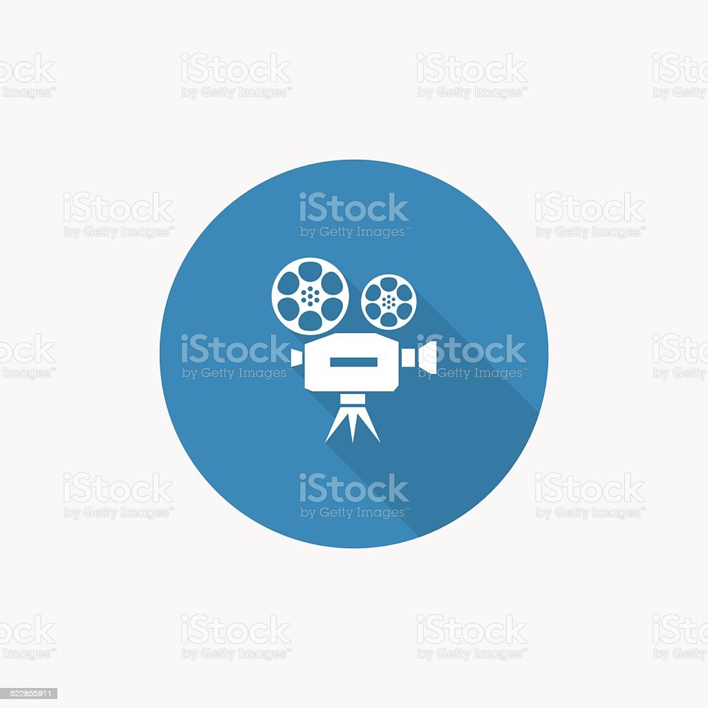 video Flat Blue Simple Icon with long shadow vector art illustration