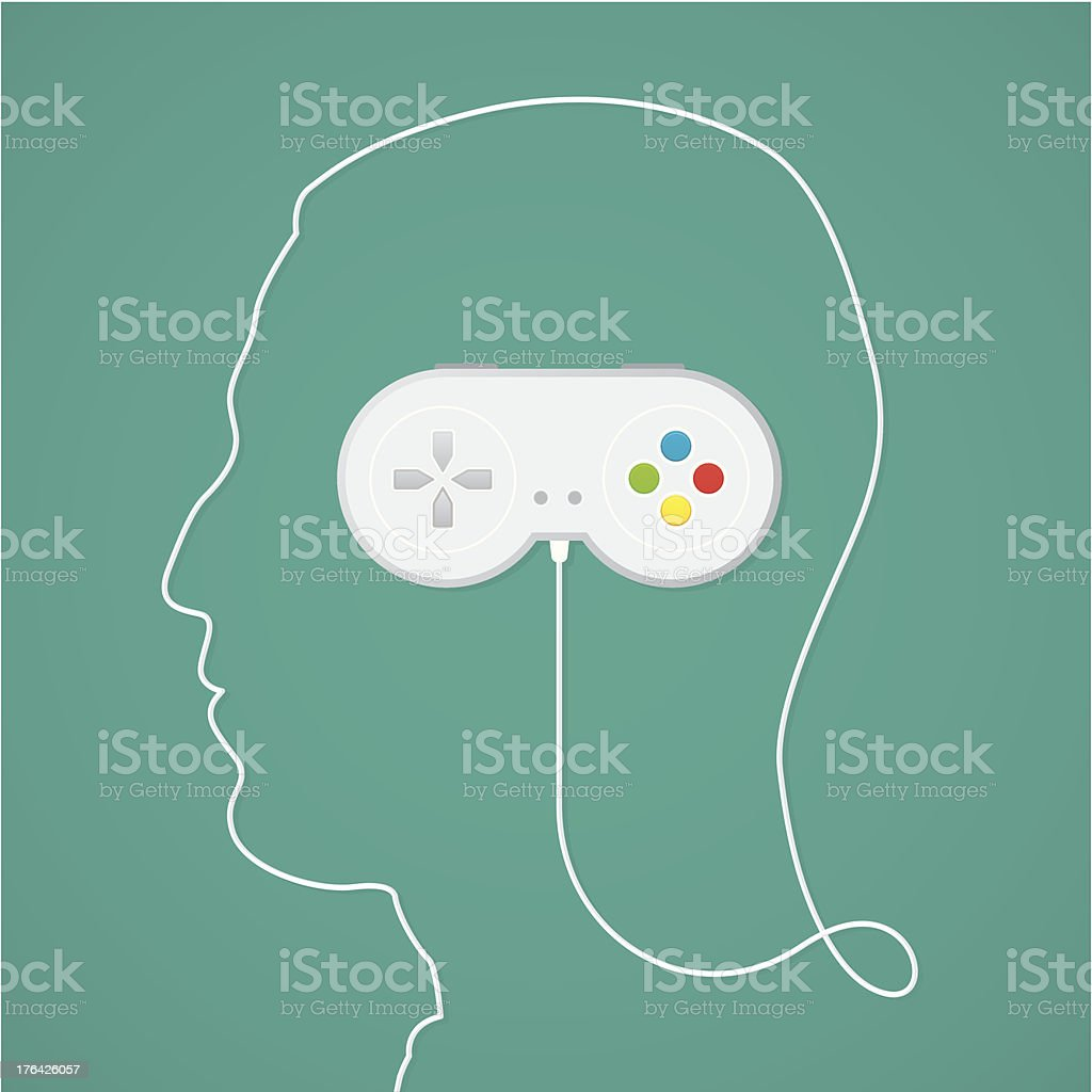 Video game addiction vector art illustration