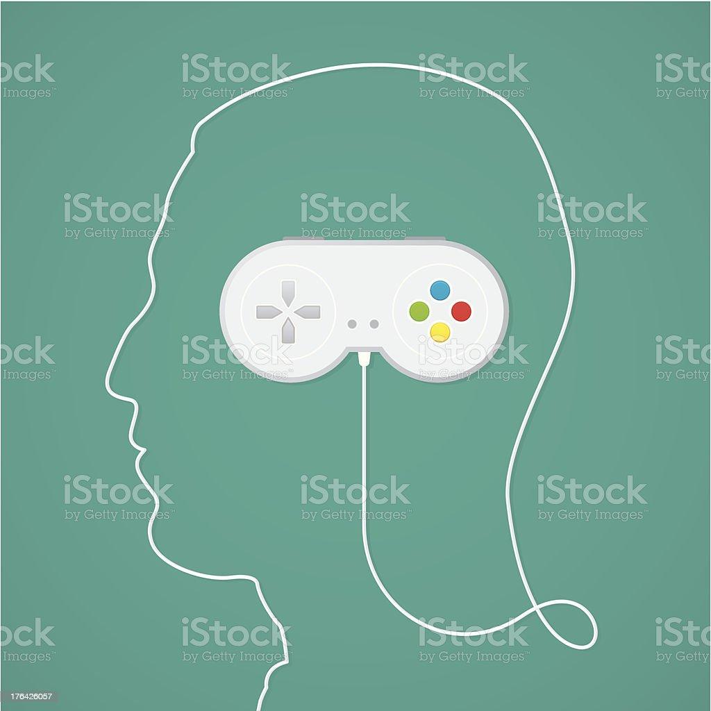 Video game addiction vector art illustration