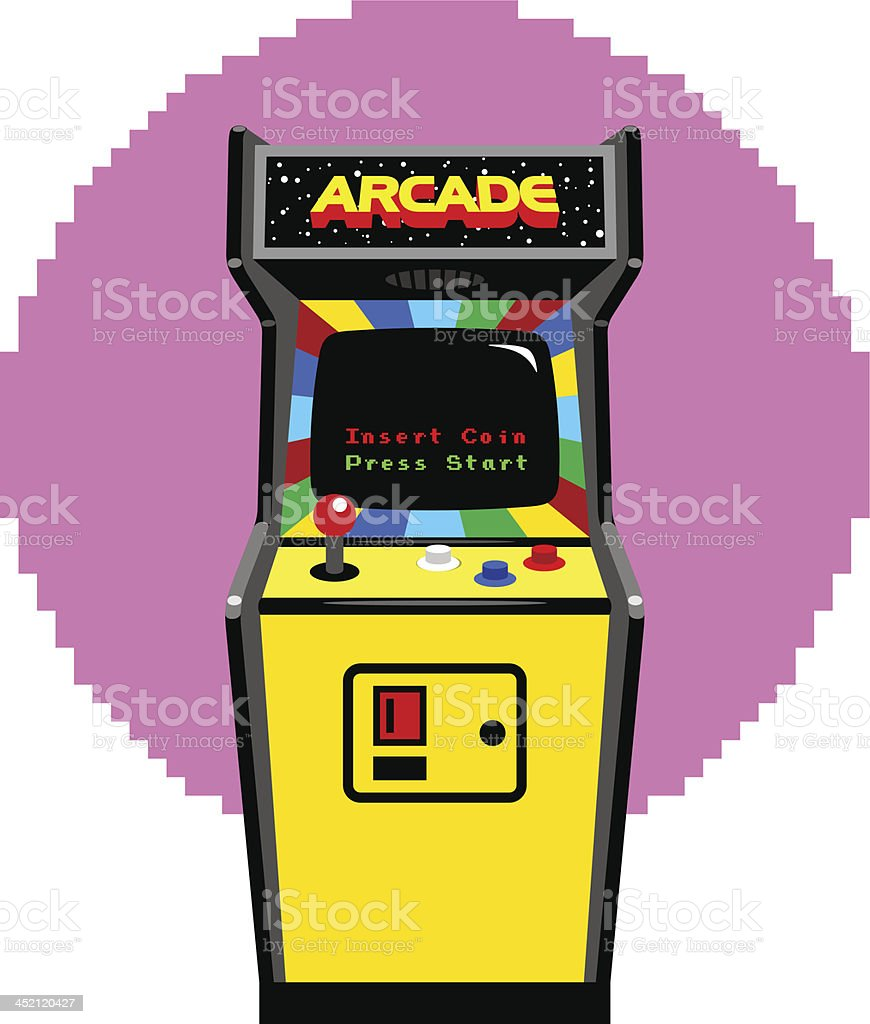 Video Game Arcade Cabinet vector art illustration