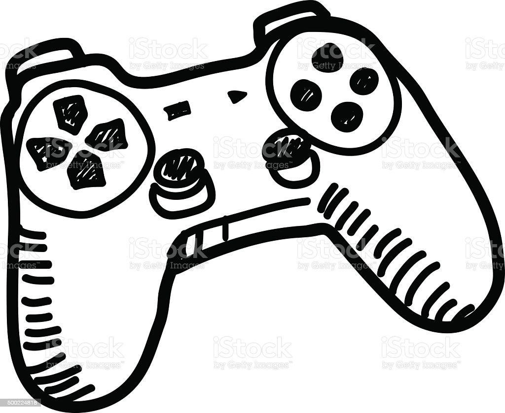 Video Game Controller Doodle vector art illustration