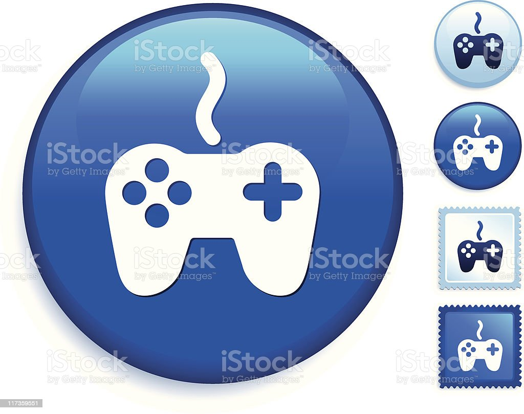 video game controller on a blue button royalty-free stock vector art